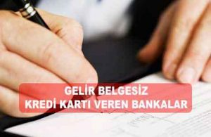 Gelir Belgesiz Kesin Kredi Kartı Veren Bankalar